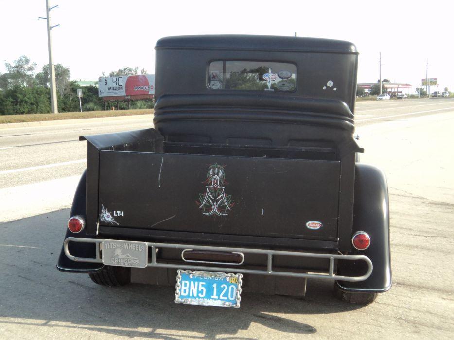 1932 Ford Pickup Hotrod Hot Rod Custom Old School Blach Primer USA 2592x1944-01 wallpaper