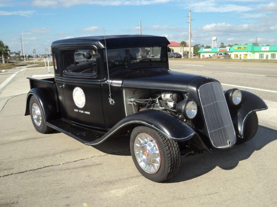 1932 Ford Pickup Hotrod Hot Rod Custom Old School Blach Primer USA 2592x1944-04 wallpaper