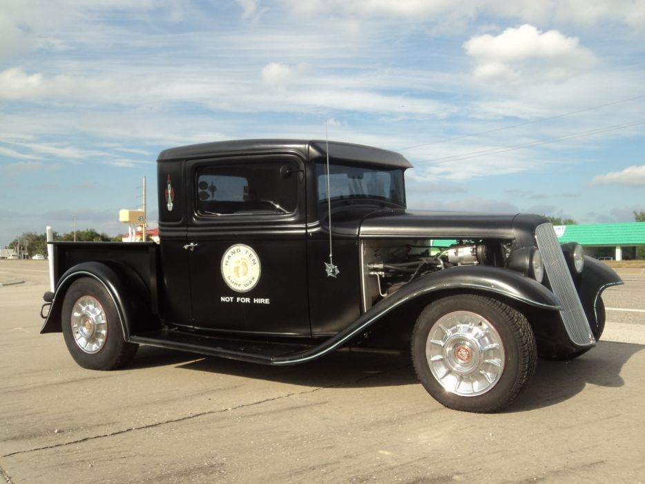 1932 Ford Pickup Hotrod Hot Rod Custom Old School Blach Primer USA 2592x1944-07 wallpaper