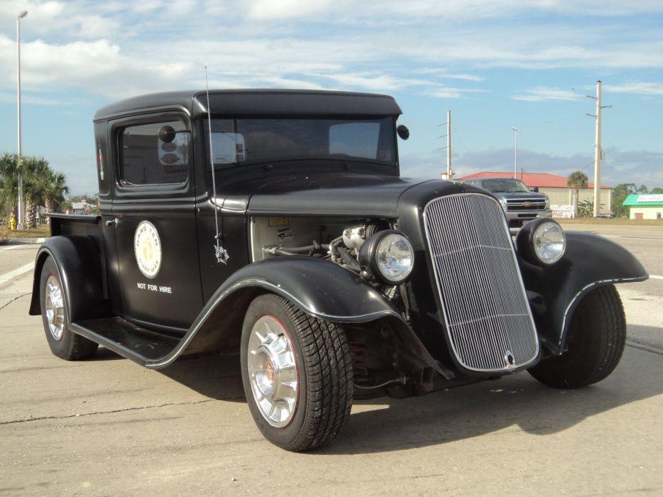 1932 Ford Pickup Hotrod Hot Rod Custom Old School Blach Primer USA 2592x1944-08 wallpaper