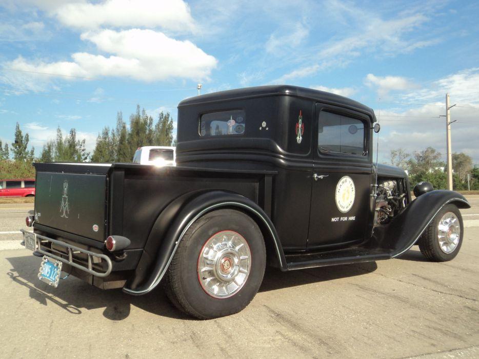 1932 Ford Pickup Hotrod Hot Rod Custom Old School Blach Primer USA 2592x1944-09 wallpaper