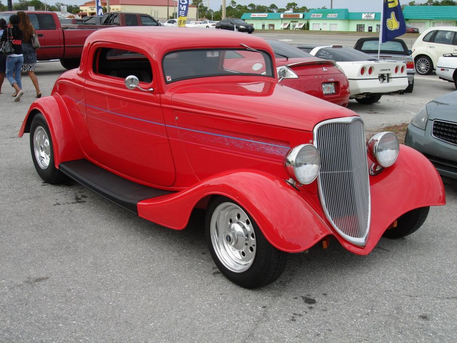 1933 Ford Coupe Three Window Chopped Red Hotrod Streetrod Hot Rod Street USA 2048x1536-01 wallpaper