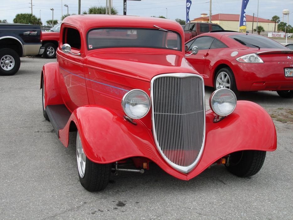 1933 Ford Coupe Three Window Chopped Red Hotrod Streetrod Hot Rod Street USA 2048x1536-02 wallpaper