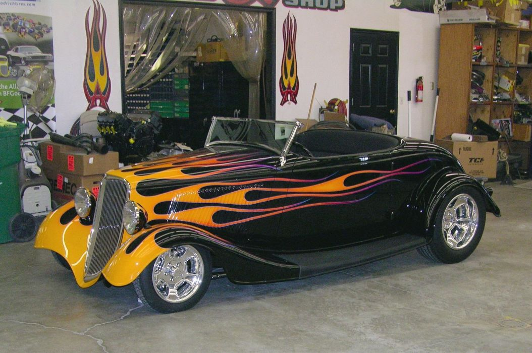 1933 Ford Roadster Hotrod Streetrod Hot Rod Street Black Flamed USA 2048x1360-01 wallpaper