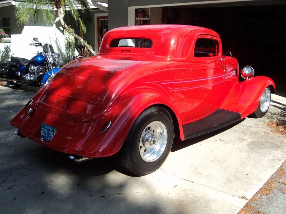 1933 Ford Coupe Three Window Chopped Red Hotrod Streetrod Hot Rod Street USA 2048x1536-10 wallpaper