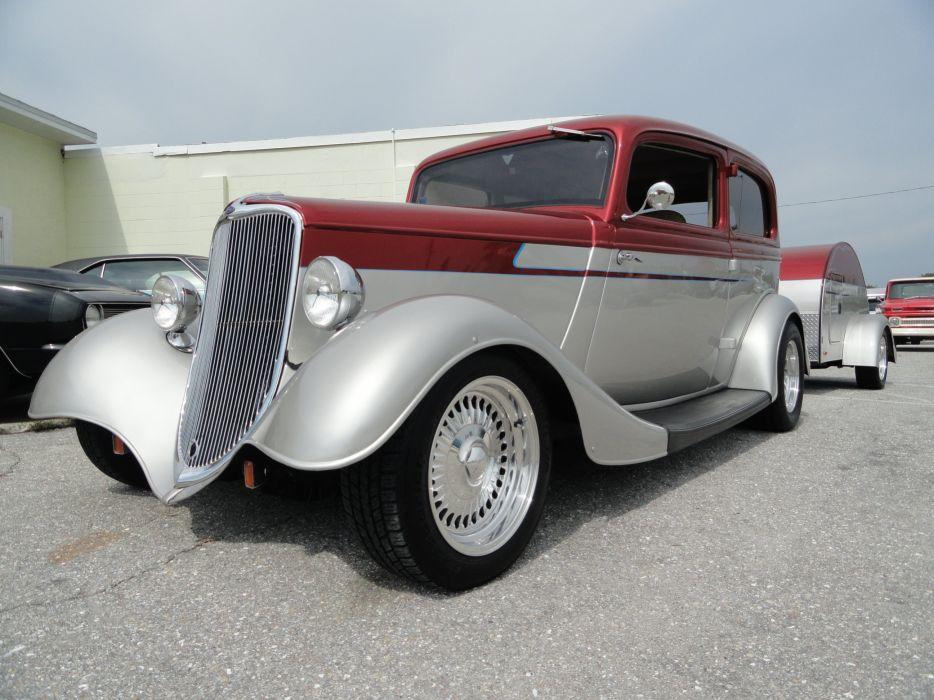 1933 Ford Tudor Sedan Two Door Hotrod Hot Rod Custom USA 2592x1944-01 wallpaper