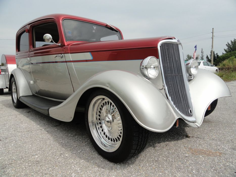 1933 Ford Tudor Sedan Two Door Hotrod Hot Rod Custom USA 2592x1944-04 wallpaper