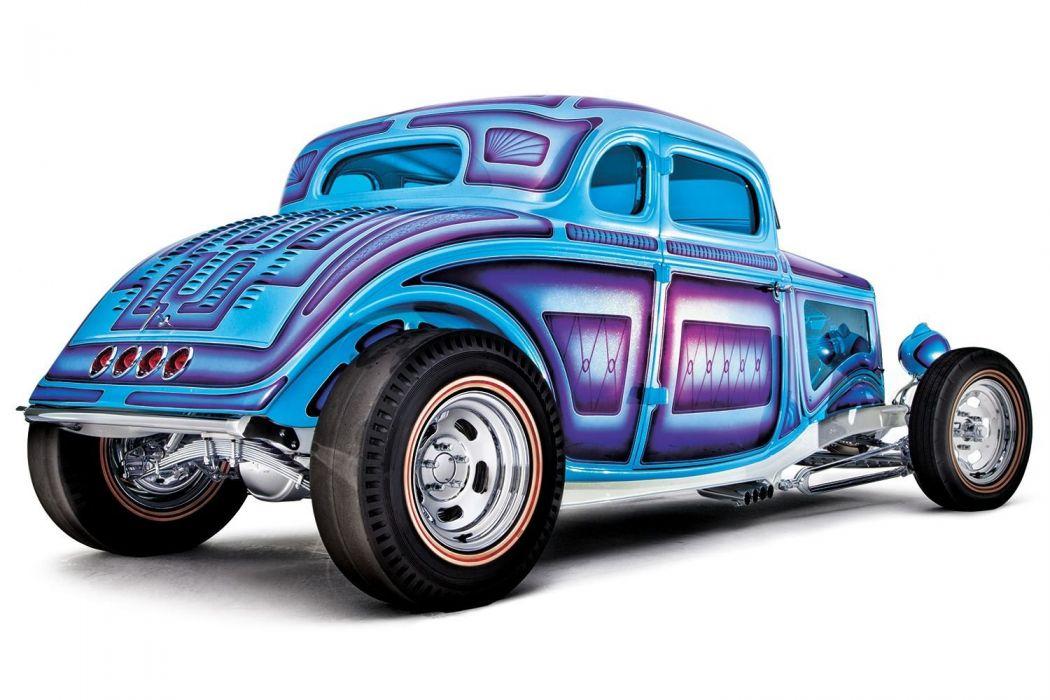 1934 Ford Coupe 5 Window five window Hotrod Street Rod Hot Rod Old School Blue USA 1500x1000-02 wallpaper