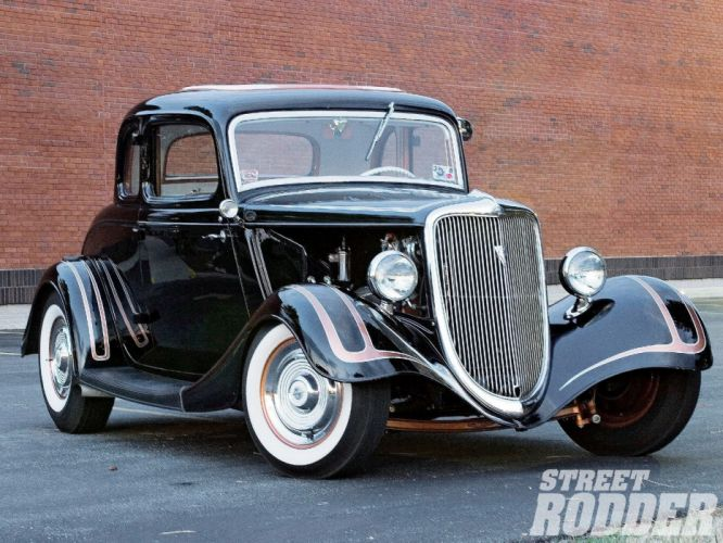 1934 Ford Coupe 5 Window five window Hotrod Street Rod Hot Rod Old School Black USA 1600x1200-03 wallpaper