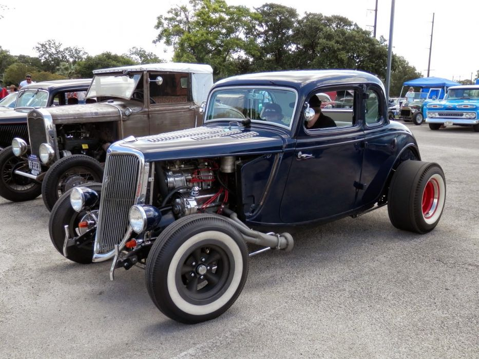 1934 Ford Coupe 5 Window Hot Rod Hotrod Old School Dark Blue USA 1600x1200-01 wallpaper