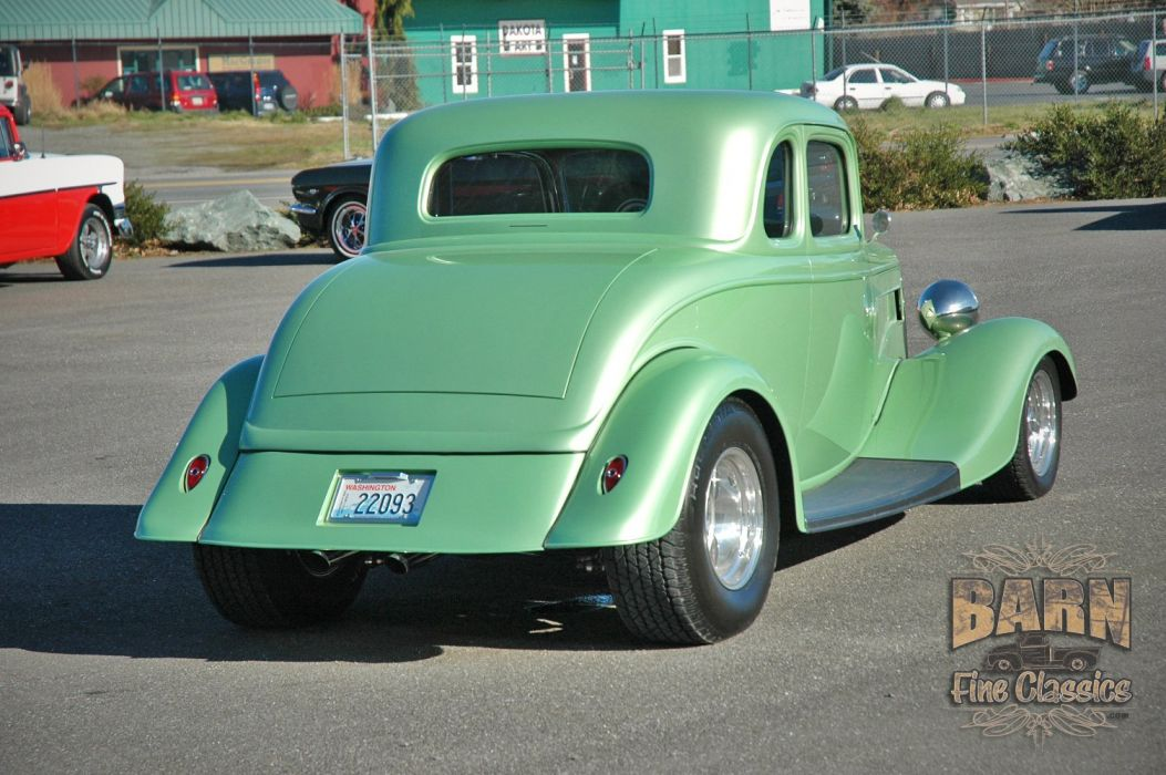 1934 Ford Coupe 5 Window Hotrod Street Rod Hot Rod Street Green USA 1500x1000-01 wallpaper