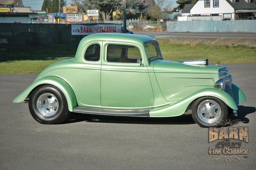 1934 Ford Coupe 5 Window Hotrod Street Rod Hot Rod Street Green USA 1500x1000-02 wallpaper