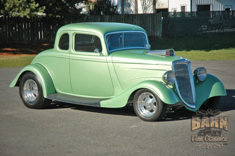 1934 Ford Coupe 5 Window Hotrod Street Rod Hot Rod Street Green USA 1500x1000-03 wallpaper