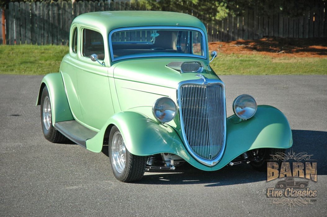 1934 Ford Coupe 5 Window Hotrod Street Rod Hot Rod Street Green USA 1500x1000-04 wallpaper