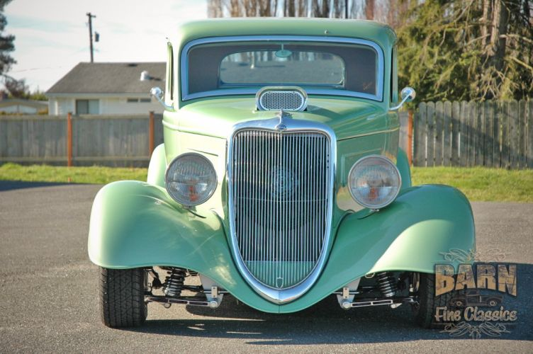 1934 Ford Coupe 5 Window Hotrod Street Rod Hot Rod Street Green USA 1500x1000-05 wallpaper