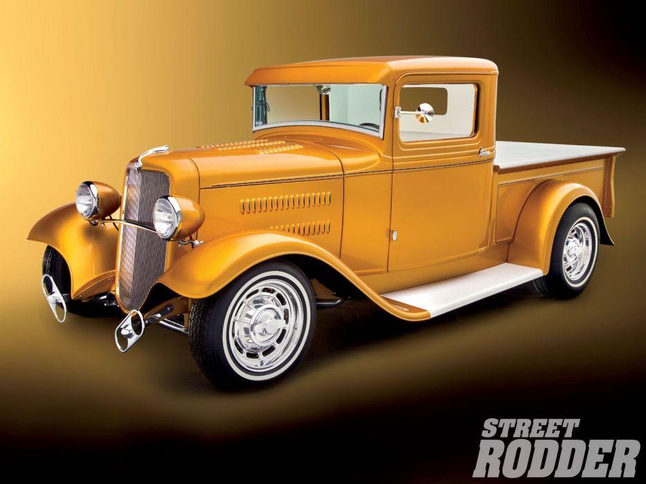 1934 Ford Pickup Hotrod Street Rod Hot Rod Old School Custom Yellow USA 1600x1200-01 wallpaper