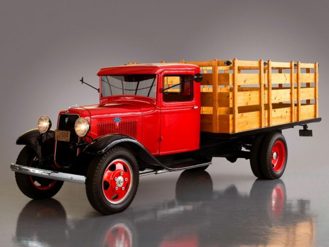 1934 Ford Model BB Stake Truck Classic Retro Old Vintage Red USA 2048x1536-01 wallpaper