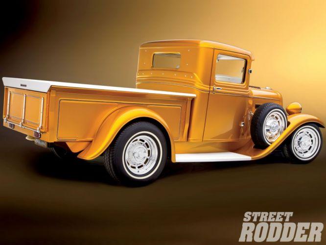 1934 Ford Pickup Hotrod Street Rod Hot Rod Old School Custom Yellow USA 1600x1200-02 wallpaper