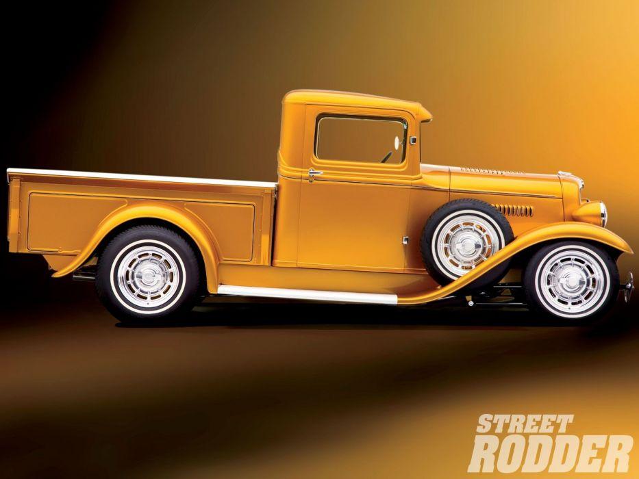 1934 Ford Pickup Hotrod Street Rod Hot Rod Old School Custom Yellow USA 1600x1200-03 wallpaper