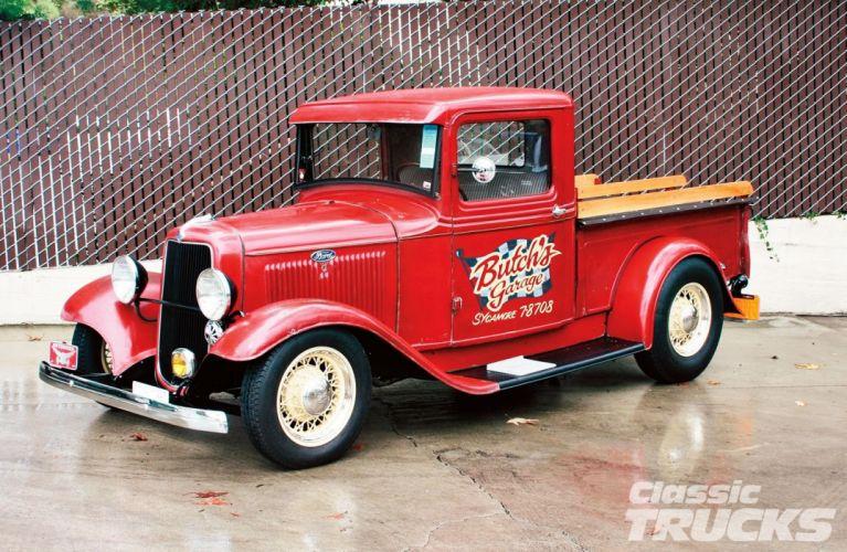 1934 Ford Pickup Hotrod Street Rod Hot Rod Old School Red USA 1600x1043-01 wallpaper