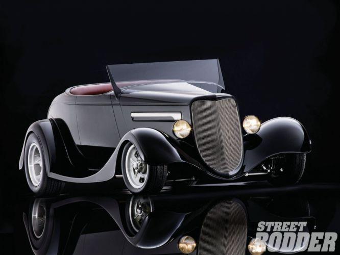 1934 Ford Roadster Hotrod Streetrod Hot Rod Street White Black USA 1600x1200-01 wallpaper
