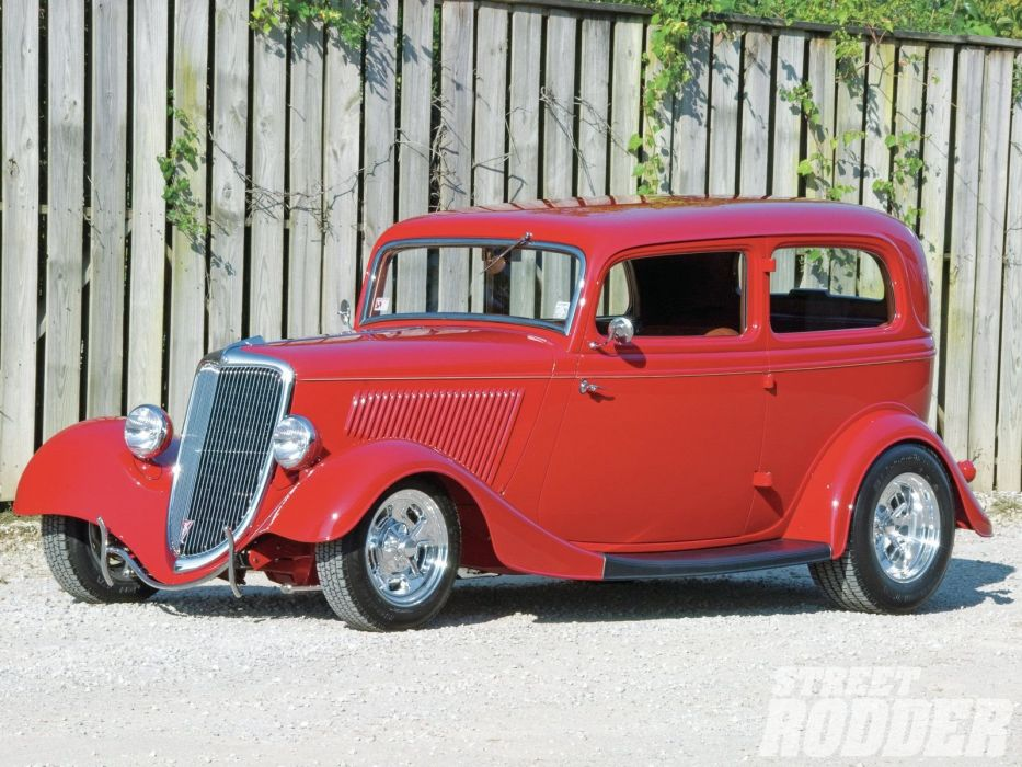 1934 Ford Sedan 2 Door Hotrod Streetrod Hot Rod Street Red USA 1600x1200-01 wallpaper