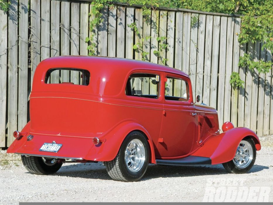 1934 Ford Sedan 2 Door Hotrod Streetrod Hot Rod Street Red USA 1600x1200-02 wallpaper