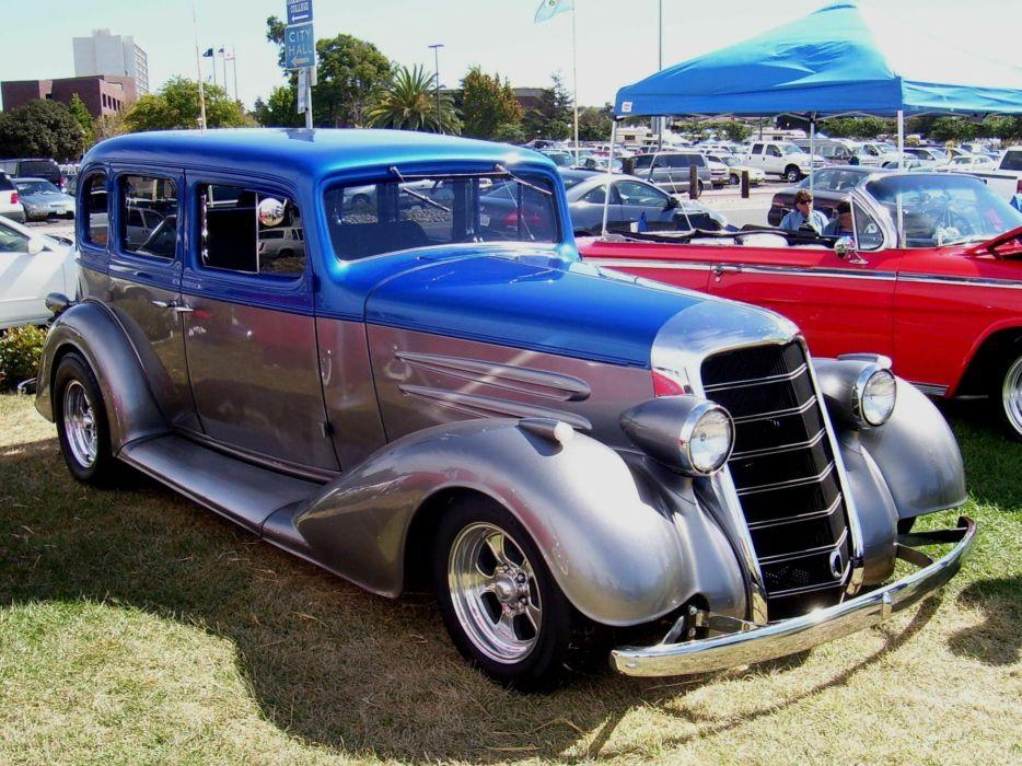 1934 Oldsmobile Sedan 4 Door Hotrod Streetrod Hot Rod Street Red USA 2100x1575-01 wallpaper