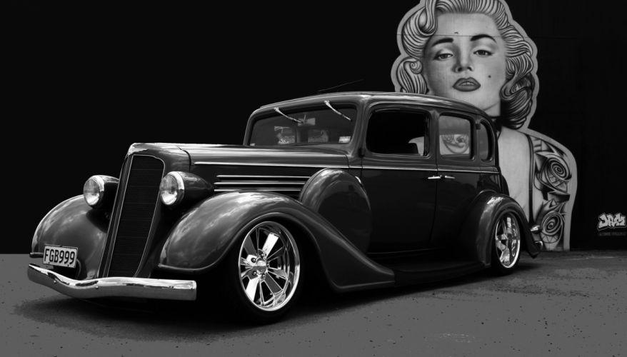 1935 Buick Sedan 4 Door Hotrod Streetrod Hot Rod Street USA 3776x2152-01 wallpaper