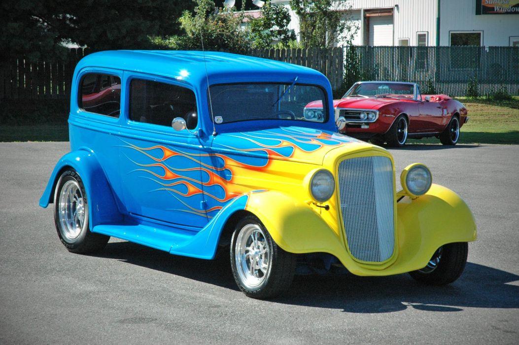 1935 Chevy Sedan 2 Door Hotrod Streetrod Hot Rod Street Blue USA 1500x1000-01 wallpaper