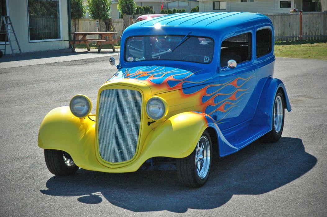 1935 Chevy Sedan 2 Door Hotrod Streetrod Hot Rod Street Blue USA 1500x1000-03 wallpaper
