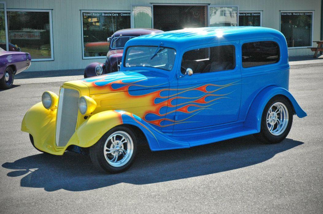 1935 Chevy Sedan 2 Door Hotrod Streetrod Hot Rod Street Blue USA 1500x1000-04 wallpaper