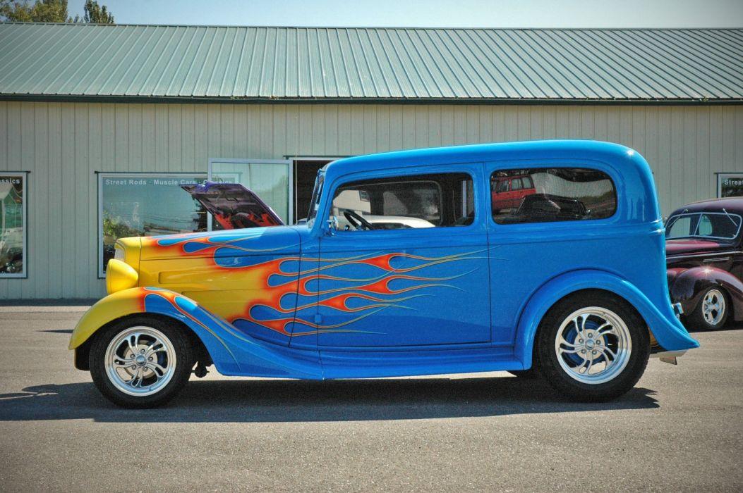 1935 Chevy Sedan 2 Door Hotrod Streetrod Hot Rod Street Blue USA 1500x1000-05 wallpaper