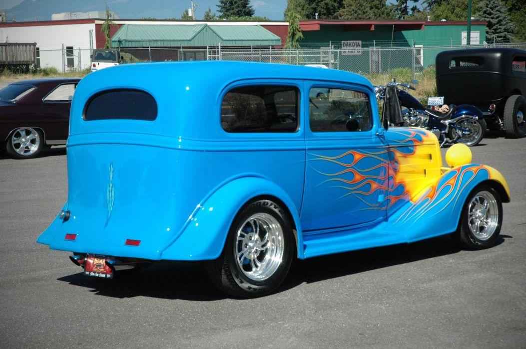 1935 Chevy Sedan 2 Door Hotrod Streetrod Hot Rod Street Blue USA 1500x1000-08 wallpaper
