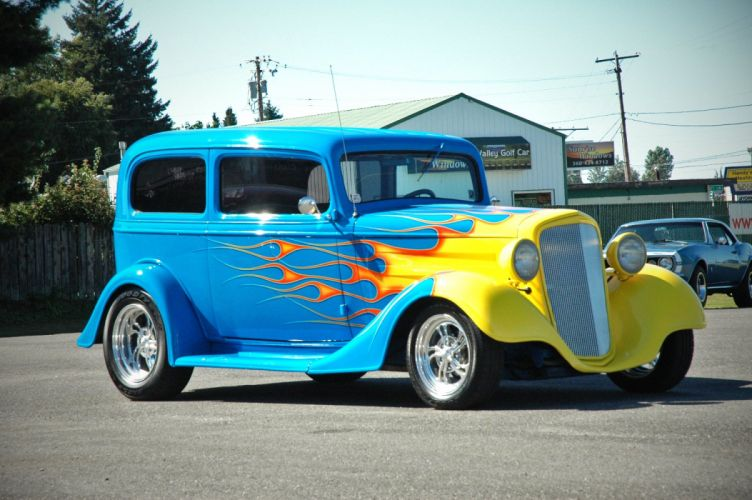 1935 Chevy Sedan 2 Door Hotrod Streetrod Hot Rod Street Blue USA 1500x1000-09 wallpaper