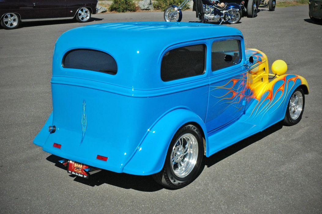 1935 Chevy Sedan 2 Door Hotrod Streetrod Hot Rod Street Blue USA 1500x1000-10 wallpaper
