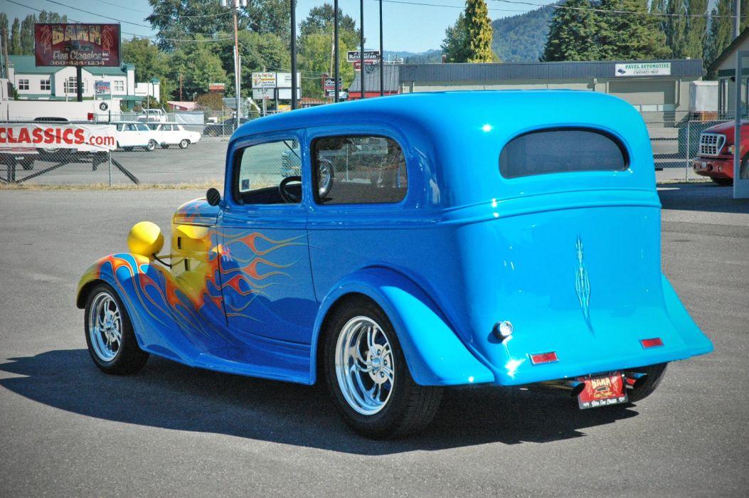 1935 Chevy Sedan 2 Door Hotrod Streetrod Hot Rod Street Blue USA 1500x1000-07 wallpaper