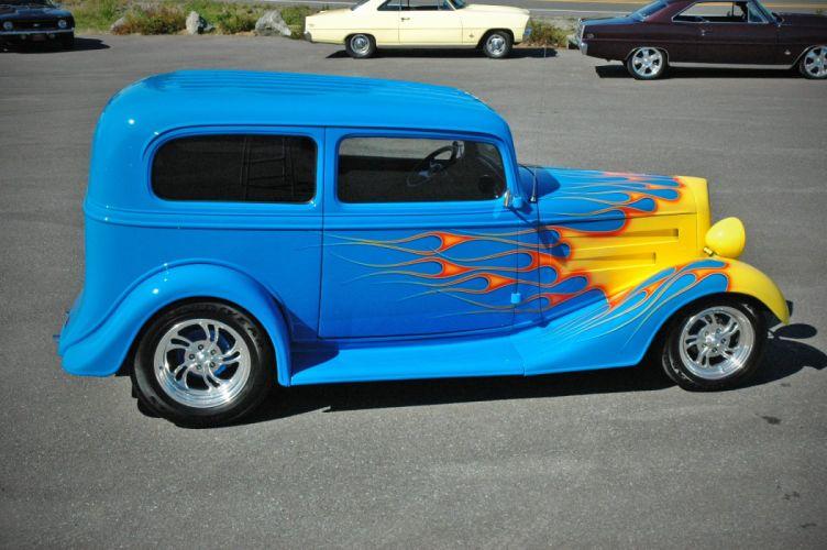 1935 Chevy Sedan 2 Door Hotrod Streetrod Hot Rod Street Blue USA 1500x1000-11 wallpaper