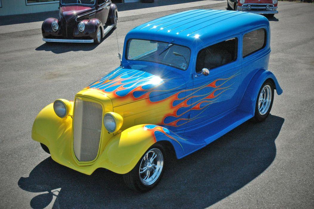 1935 Chevy Sedan 2 Door Hotrod Streetrod Hot Rod Street Blue USA 1500x1000-13 wallpaper
