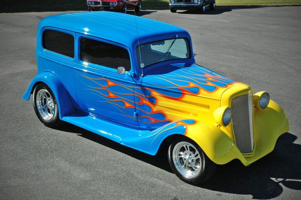 1935 Chevy Sedan 2 Door Hotrod Streetrod Hot Rod Street Blue USA 1500x1000-12 wallpaper