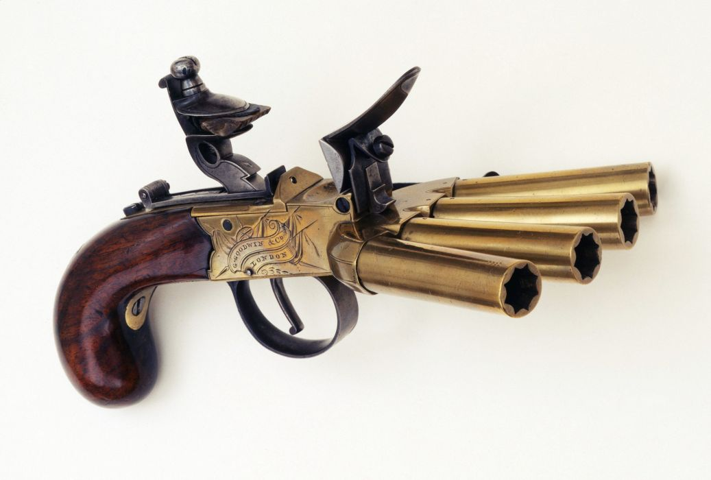UK Pepper-box guns antique gun old wallpaper
