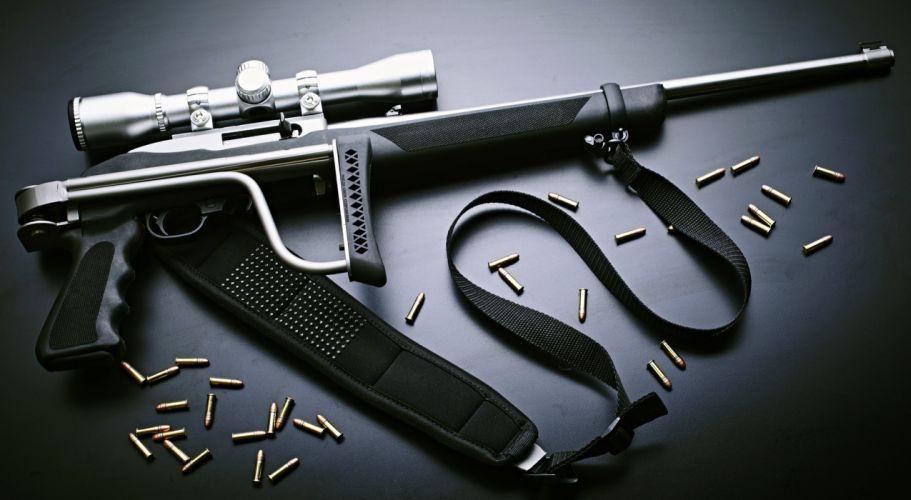 22 semi-automatic rifle collapsible stock optics bullets weapons gun wallpaper