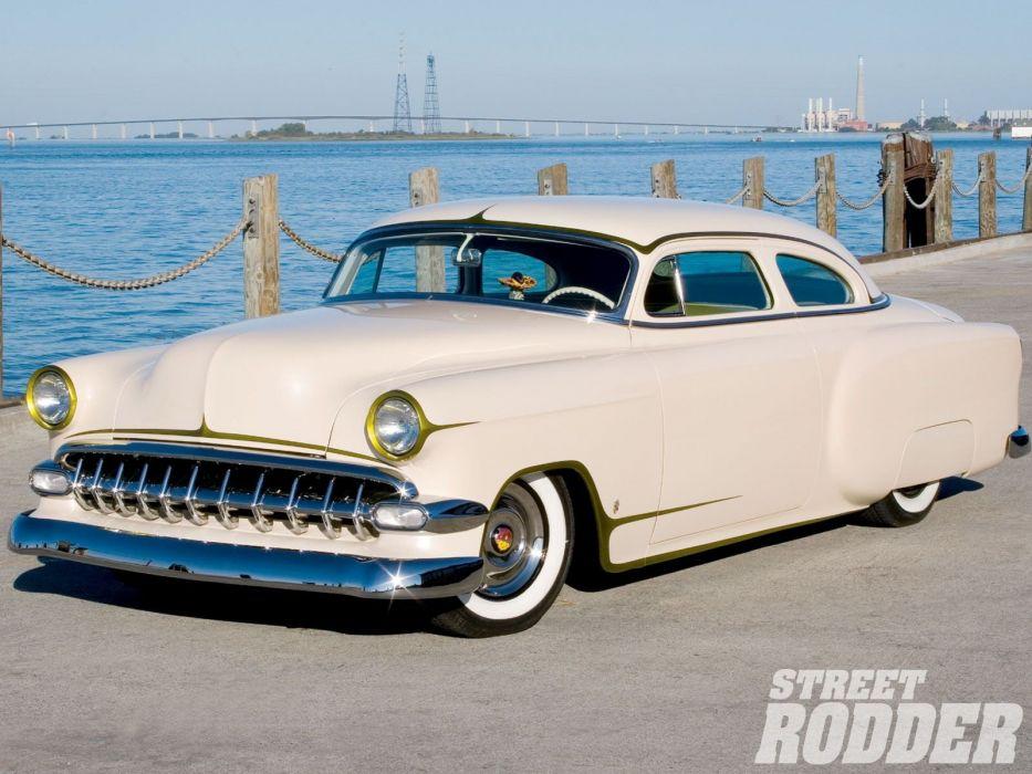 1954 Chevrolet BelAir Hotrod Hot Rod Custom Kustom Chopped Low USA 1600x1200-03 wallpaper