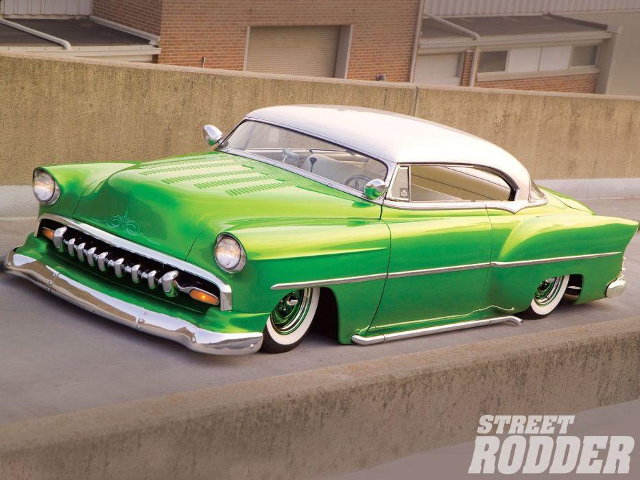 1954 Chevrolet BelAir Hotrod Hot Rod Custom Kustom Chopped Low USA 1600x1200-09 wallpaper
