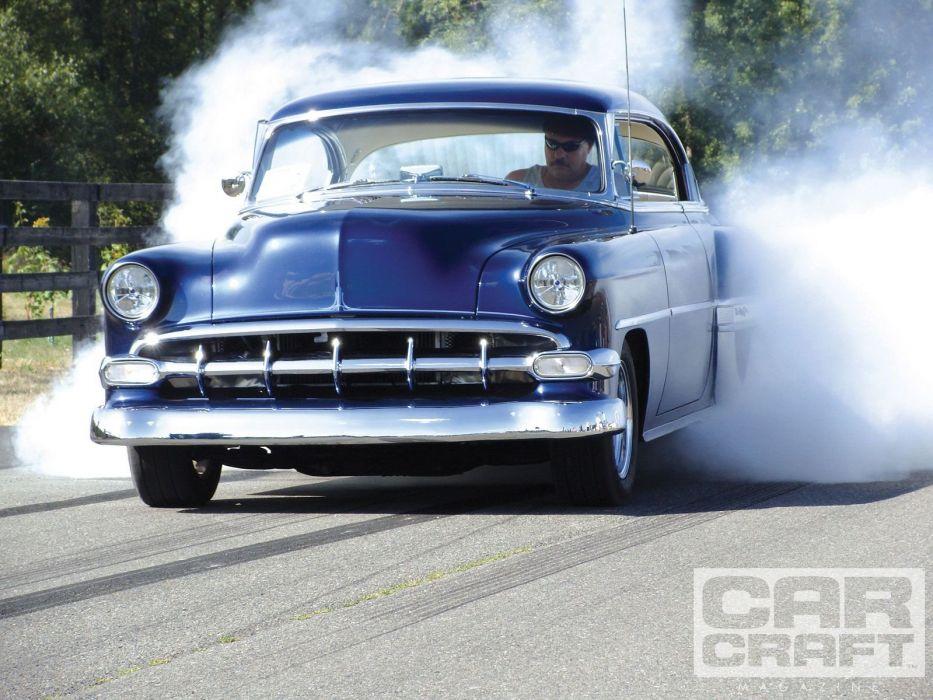 1954 Chevrolet BelAir Hotrod Streetrod Hot Rod Street Burnout USA 1600x1200-01 wallpaper