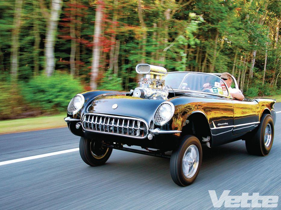 1954 Chevrolet Corvette Gasser Streetrod Street Rod Drag USA 1600x1200-01 wallpaper