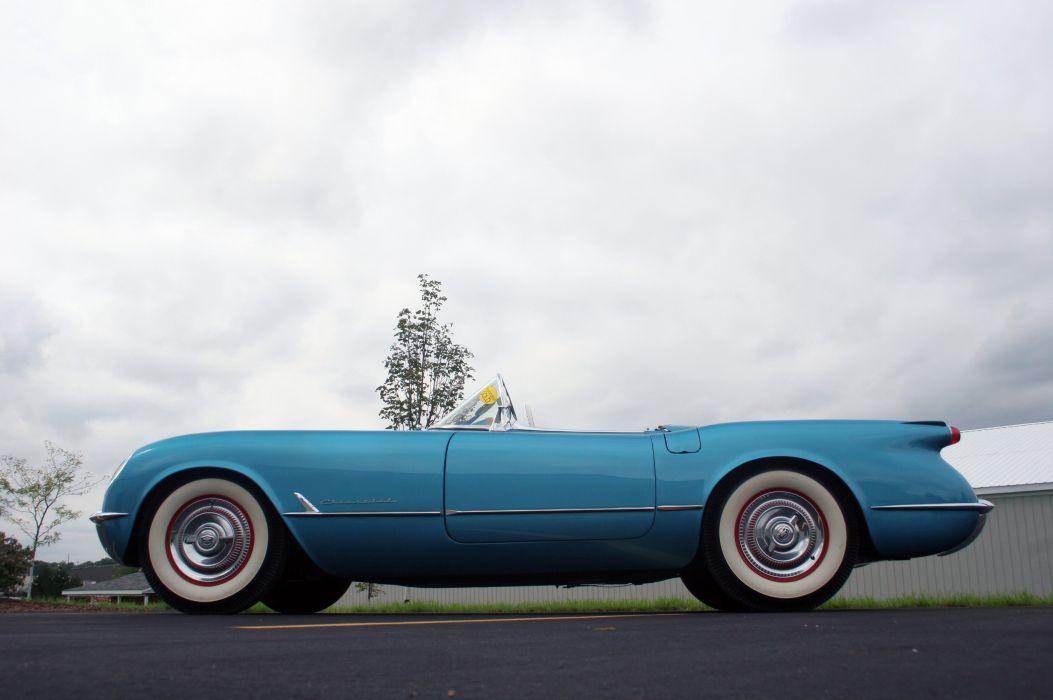 1954 Chevrolet Corvette-Blue Classic Old Vintage Original USA 3580x2380-02 wallpaper