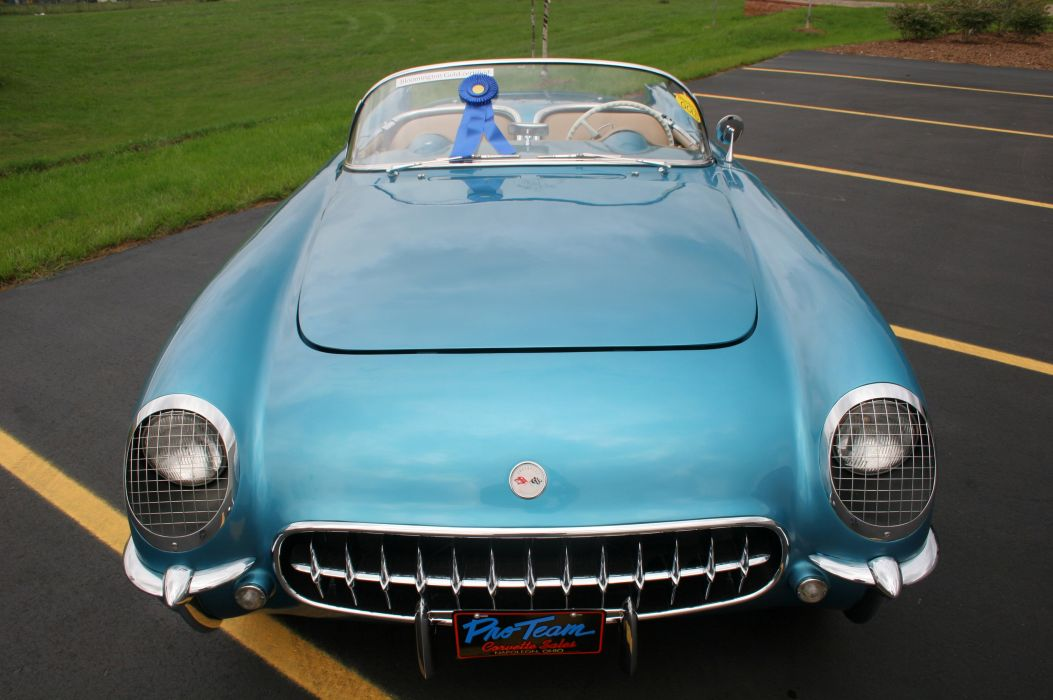1954 Chevrolet Corvette-Blue Classic Old Vintage Original USA 3580x2380-07 wallpaper