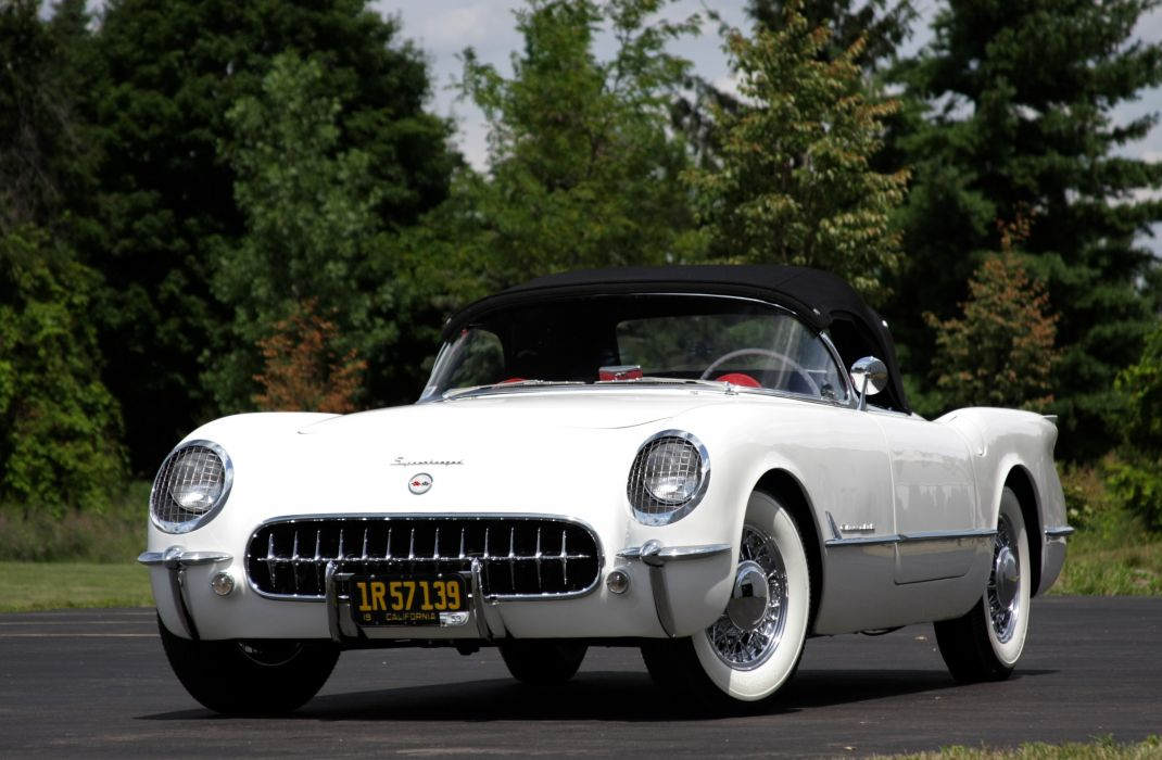 1953Chevrolet Corvette Supercharged Classic Old Vintage Original White USA 3548x2354-02 wallpaper