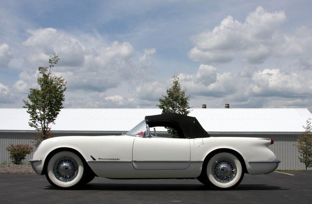 1953Chevrolet Corvette Supercharged Classic Old Vintage Original White USA 3548x2354-04 wallpaper